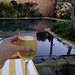 Wine by pool