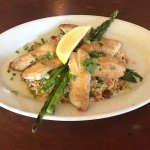 Chef's Special- Seared Acadian Redfish, lemon-garlic butter, andouille fried rice, grilled aspar