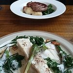 Poached turbot & Wild boar Cumberland sausage