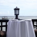 Veranda table with waterside view.