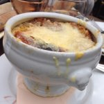 French onion soup in an individual tureen