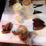 A delicious dinner at Rudy's BBQ served on butcher paper.