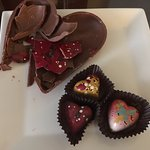 They delivered a large chocolate heart that had decorated individual chocolates inside!
