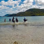 Riding into the water for a swim with the horses