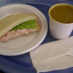 Split Pea Soup and Ham Salad Sandwich