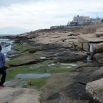Walking along the rocks from the Fisherman's Pier at Narragansett Beach.