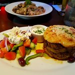 Delicious moussaka with a Greek salad