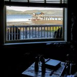 View from living and bedroom to Tomales Bay and boathouse