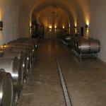 Wine being aged in metal barrels
