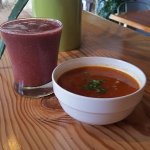 New Spring 2017 menu items! Tomato Red Lentil Soup & Strawberry Fairytale Rose Power Smoothie
