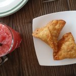 samosas and watermelon shake
