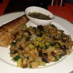 Tuna steak with vegetables.