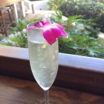 Cinnamon's Restaurant -Proseco with Orchid