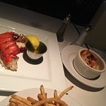 Tbone Ribeye fillet mini crab cakes and lobster tail