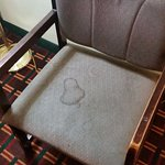 Mystery stain on the only chair in the room.