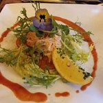 Delicious starter of crayfish and avocado