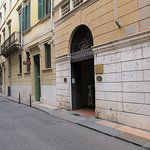 Hotel entrace on side street in Verona, Italy