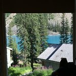 Close up of view out of our lounge window of Deluxe King Cabin.