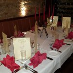 Wedding arrangements in the cellar dining room