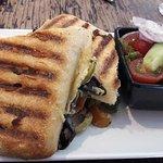 Vegan houmous, spinach, olive & mushroom sandwich
