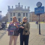 With gelato in front of San Giovanni Lateran basilica