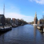 Amsterdam from one of her remaining antique wooden bridges