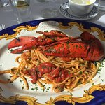 Linguine with lobster and prawns
