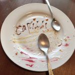 What's left of the cannoli...beautifully plated. If you want to see, you'll have to visit. Too g