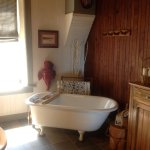 The guest bath has a deluxe soaking tub plus a shower