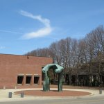 I.M. Pei designed library with Henry Moore sculpture.