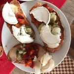 Pan con Tomate with eggplant, onion, pepper and goat cheese