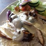 Chicken fillet strips with mushroom and white wine sauce