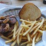 Blackened Shrimp Po Boy (on a burger bun?)