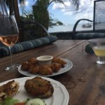Crab back, fritters, and a view!