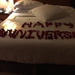 The pool and gorgeous cakes we received at the Moevenpick Bur Dubai