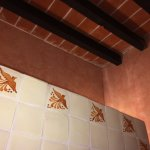 Hand painted tiles in the bathroon