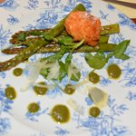 Crispy Egg with Asparagus Spears, Parmesan and Pesto