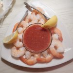 A shrimp coctail ordered for my husband's birthday! Huge, fresh shrimp! He loved it!