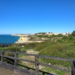 Wooden walkway for excellent coastal views on a road which is off the main road that leads to to