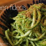 Zoodles mix with rosemary and parsley pesto, pangritata on top.