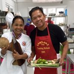 with Chef Leez  during the Thai cooking class, Bangkok 03/09/2017
