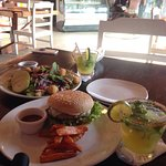 Delicious Margaritas, spinach salad and burger.