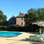 Relax by the heated pool and castle