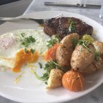 Steak and Eggs with roasted fingerling potatoes and cherry tomatoes