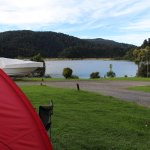 View of the lake from our Tent Site, just below is a boat ramp you can swim from