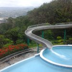 Water slide and infinity pool