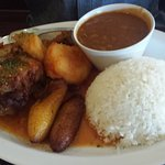 chicken and beans, plantains