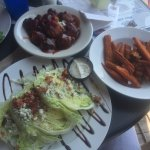 Wedge Salad, sweet potato fries and chicken wrapped with bacon in BBQ Sauce