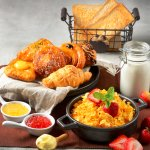Start your day with our wide selection of international breakfast delicacies.