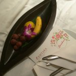 Fruit plate with Get Well card from manager and staff